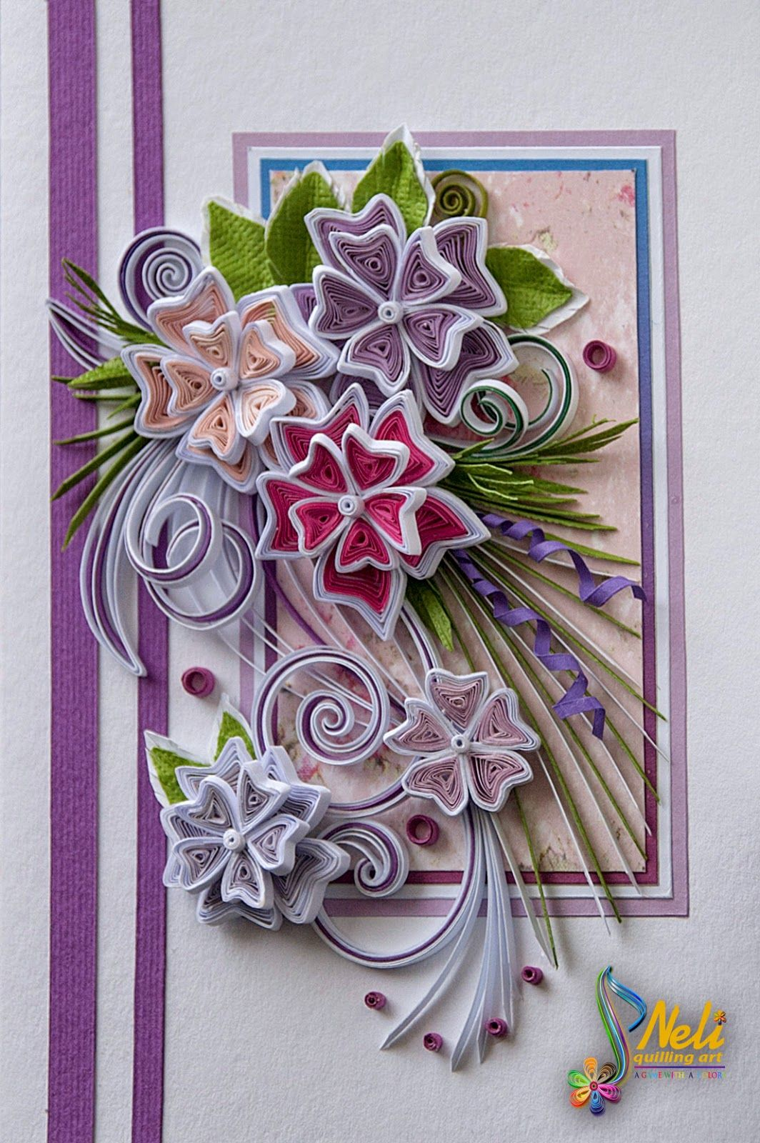 Neli quilling art quilling card 14 8 cm 10 5 cm for Quilling designs