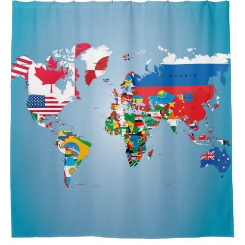Travel World Globe Flags Map Shower Curtain | Pinterest | Flags and ...