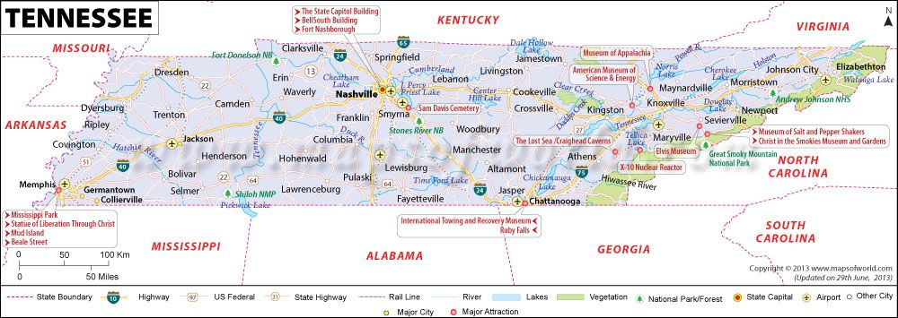 Tennessee (TN) Map | Places to Visit | Pinterest | Mapas