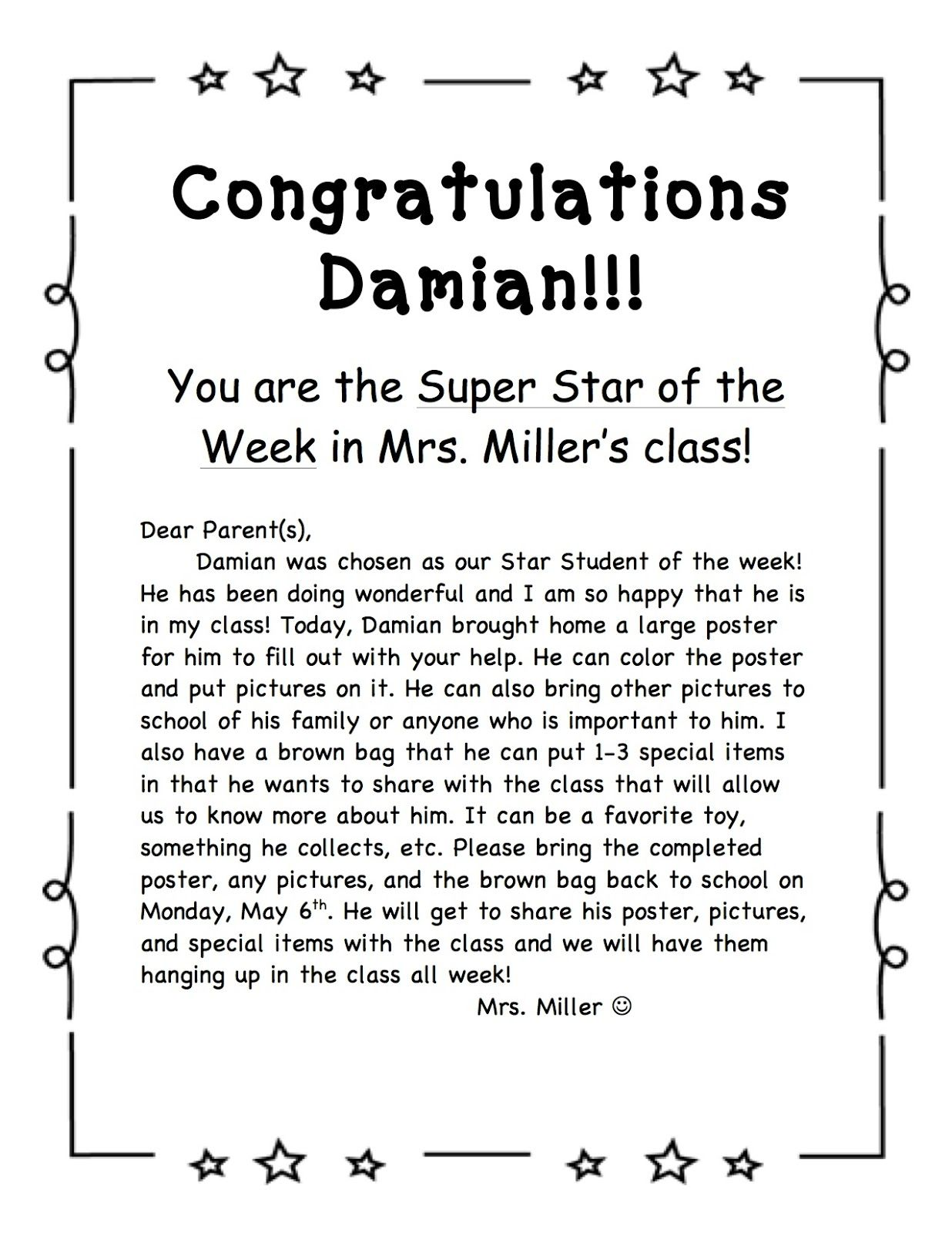 star of the week poster template - star student of the week school pinterest star