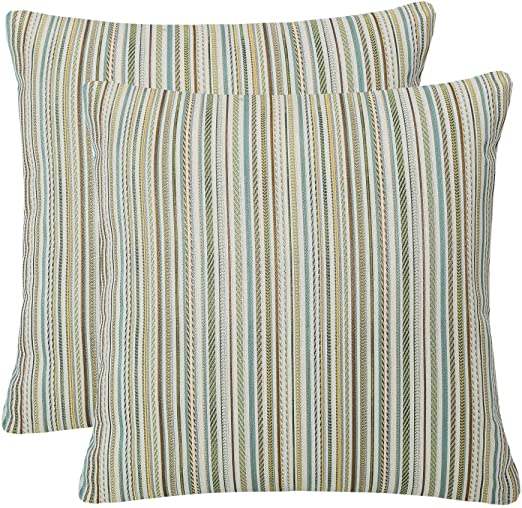 Amazon.com: YUKORE Pack of 2 Simpledecor Throw Pillow Covers Couch Pillow Shells,20X20 Inches,Jacquard Colorful Stripes,Multicolor Teal: Bedding & Bath