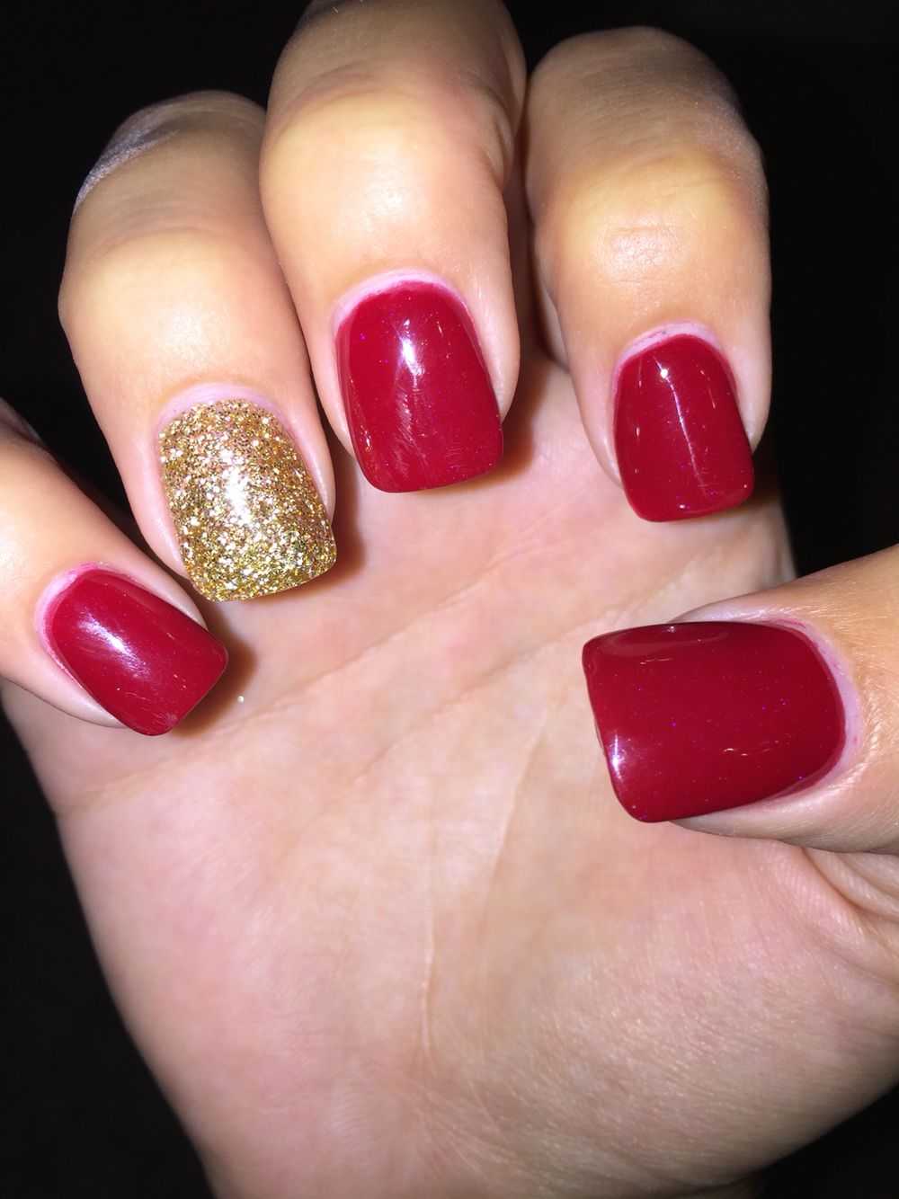 Red And Gold Acrylic Gold Acrylic Nails Red Nails Glitter Red Acrylic Nails
