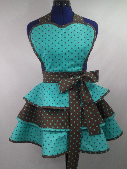Retro Teal and Brown Polka Dot  Apron by DelightfullyDeviant, $50.00