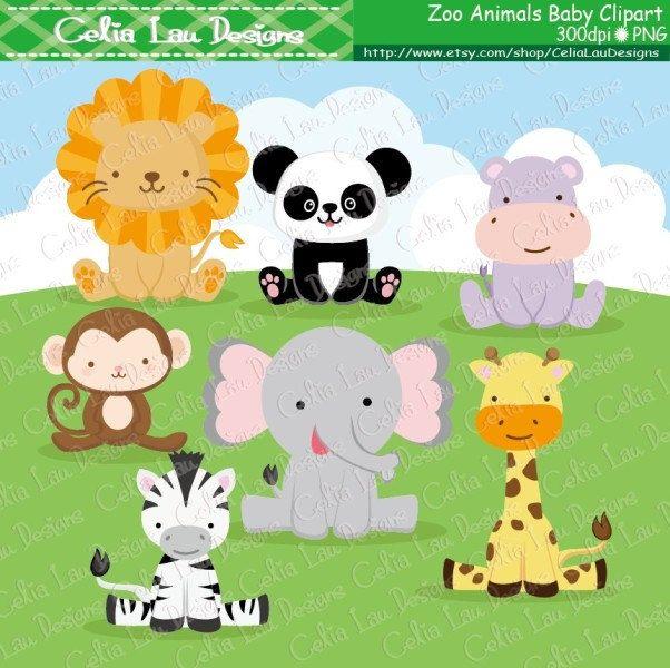 Zoo Animals Digital Clip Art Baby Animals Clipart Cute Etsy Cute Animal Clipart Animal Clipart Zoo Animals