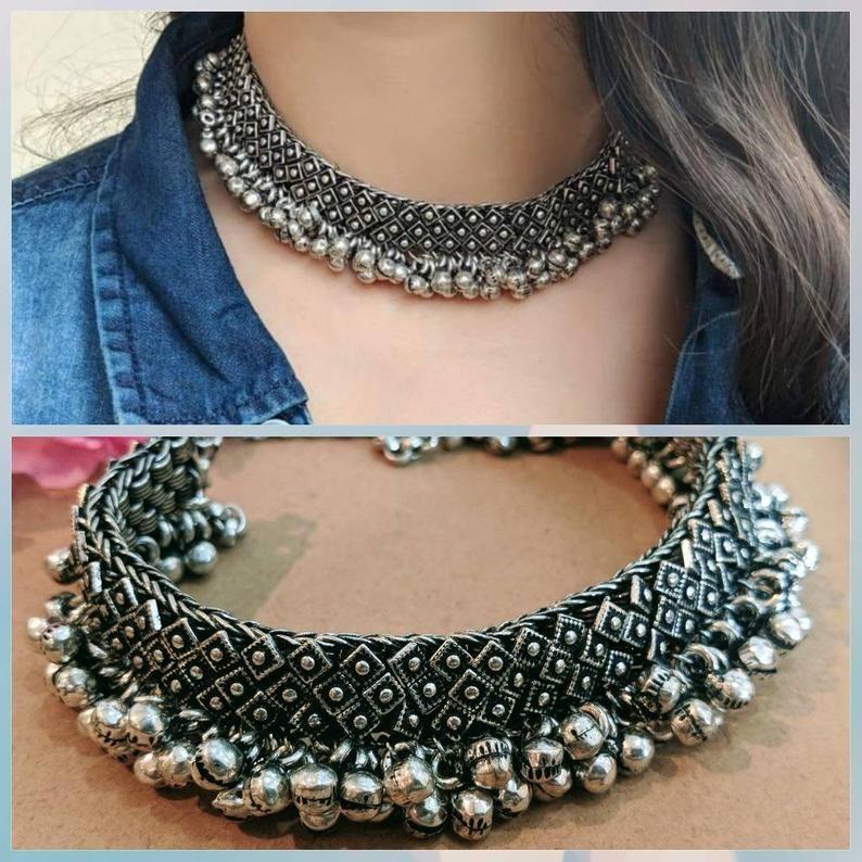 Oxidized German Silver Necklace Oxidized Indian Jewelry Bollywood Design Jewelry Boho Jewelry Tirbal Oxidised Necklace