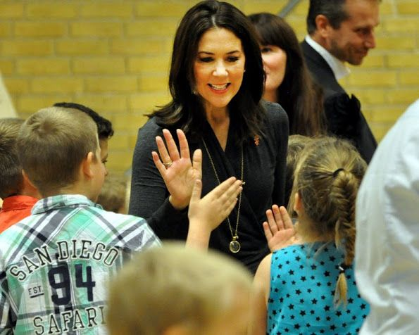 Crown Princess Mary attends the launch of UNFPA - United Nations Population Fund - World Population Report 2016 at Byskolevej school in Rodby on Oct. 28, 2016.