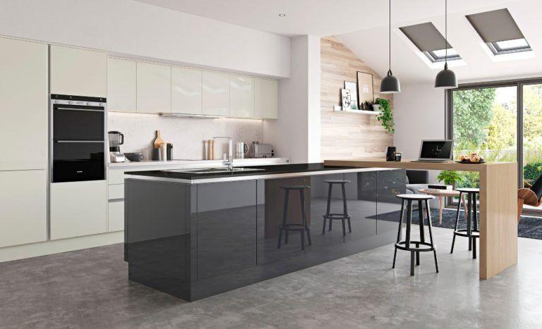 Two Toned High Gloss Acrylic Kitchen Modern Kitchen Island Design Top Kitchen Designs Contemporary Kitchen