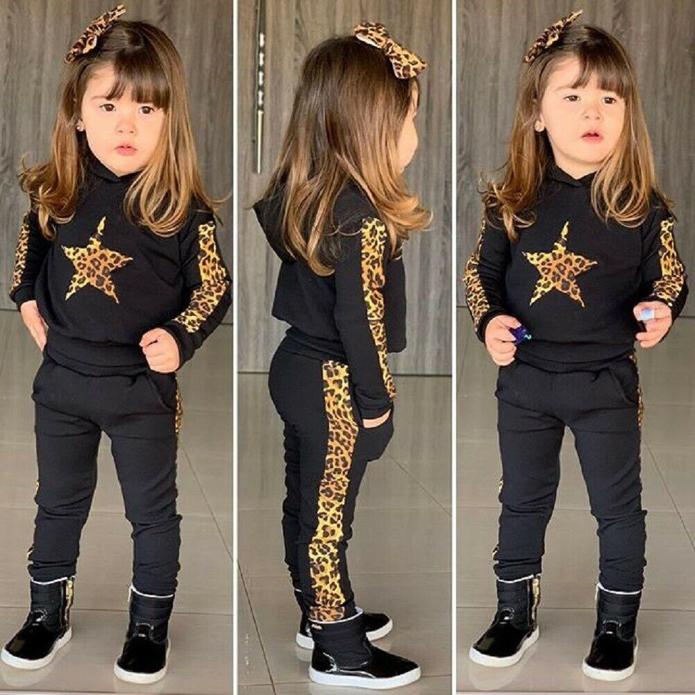 Newborn For Baby Girl Clothes Long Sleeve Hooded Top Leopard Pants Outfit Winter