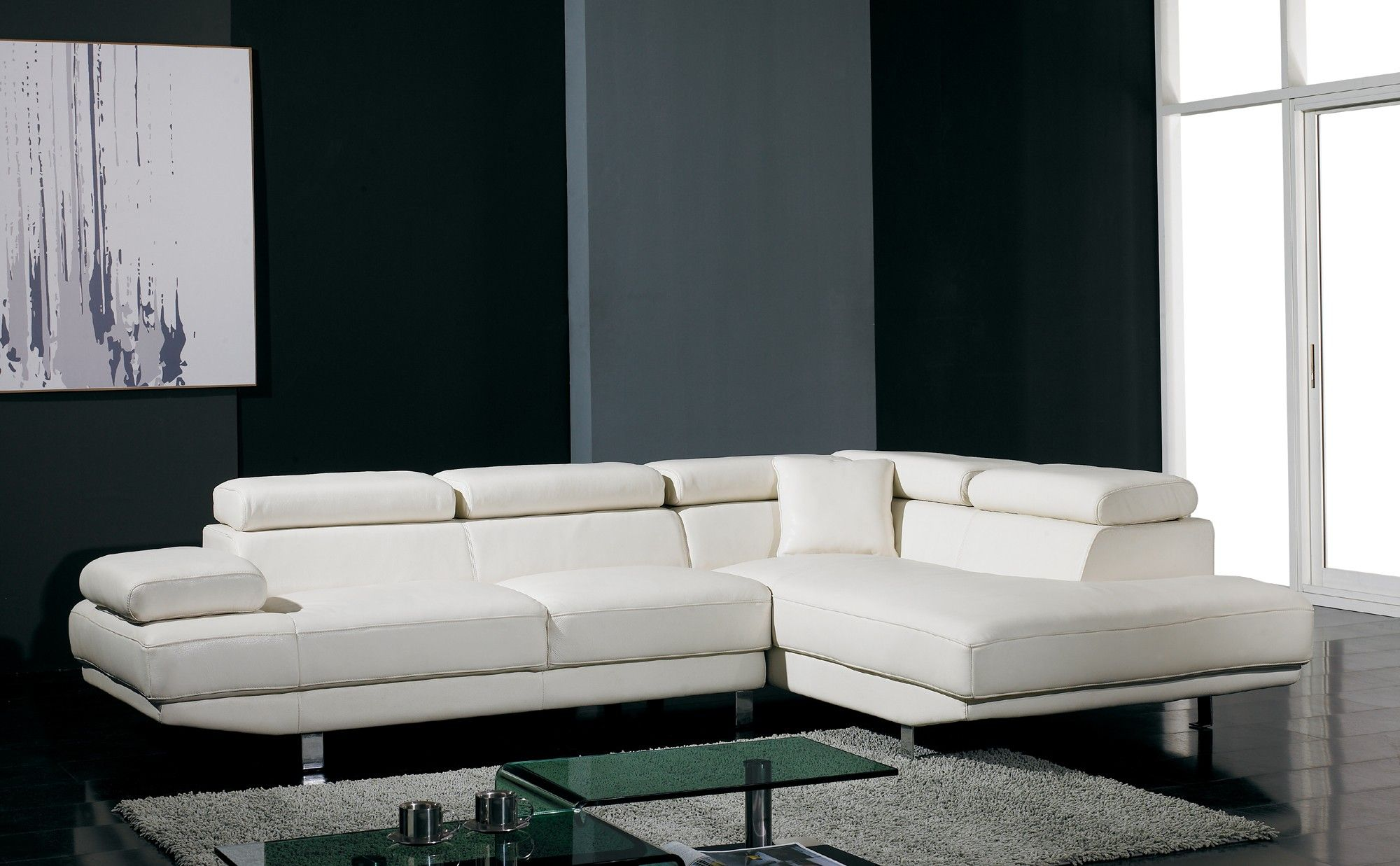T60 Ultra Modern White Leather Sectional Sofa Of The Week Specials
