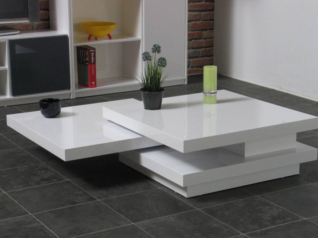Fashion For Home Couchtisch Salontafel Ice Wit Hoogglans Design Met Beweegbare Bladen