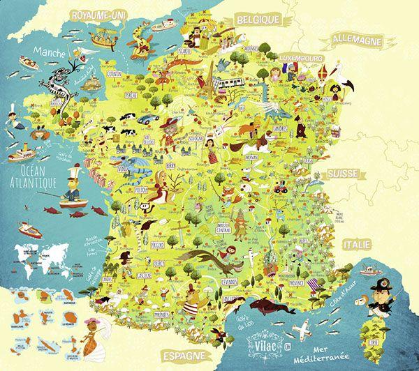 Map Of France For Children.Children S Illustrated Map Of France Huette Olivier Strany In