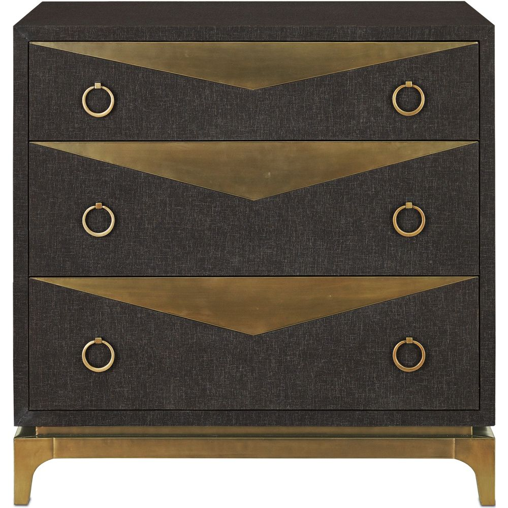 Furniture :: Chests U0026 Dressers :: Brass And Black Linen Chest