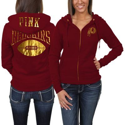 908468dd6 Victoria s Secret PINK Washington Redskins Ladies Bling Full Zip Hoodie -  Burgundy