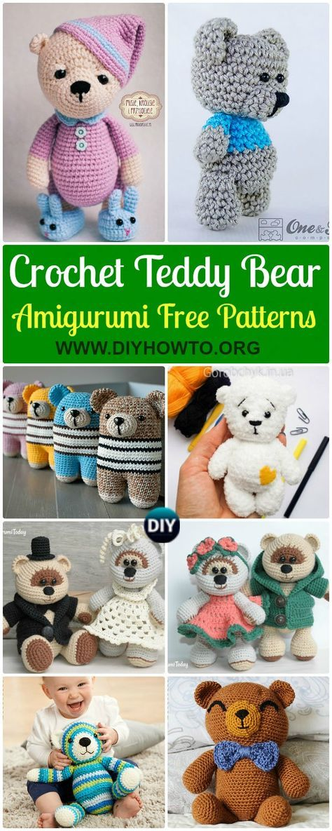 Collection of Amigurumi Crochet Teddy Bear Toys Free Patterns, Bear ...
