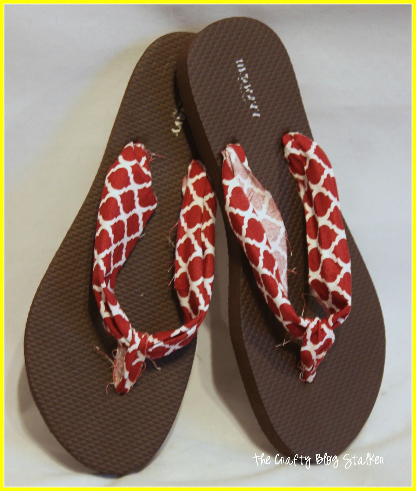 fbb6f190227183 Tutorial for Fabric Flip Flops. I would iron the fabric and tidy it up more.
