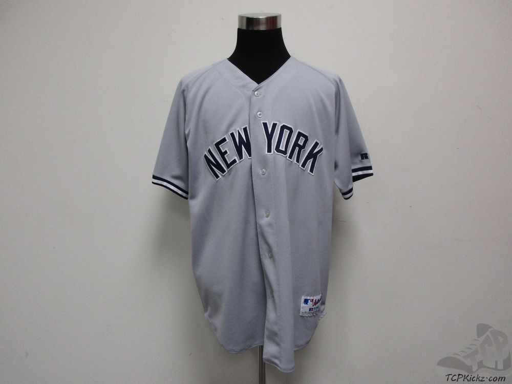 df92bd45b Russell Athletic New York Yankees SEWN Baseball Jersey sz 52 MLB Grey Blue  AL  RussellAthletic  NewYorkYankees