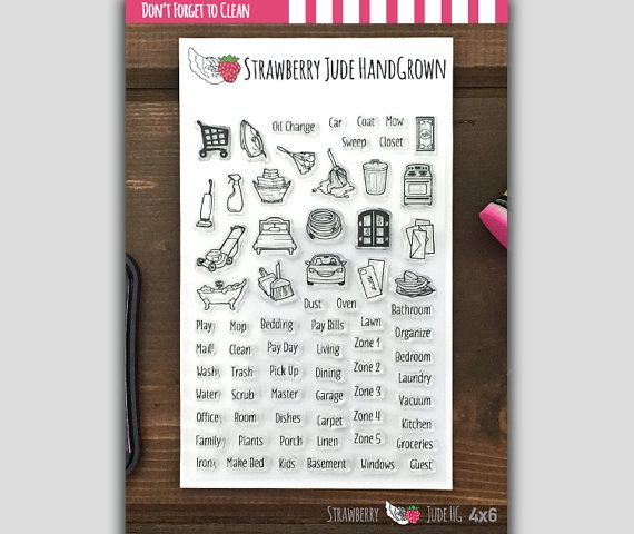 Don T Forget To Clean Planner Stamp Set Stamp Happy Planner