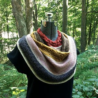 Beginning with a cabled neckline, this cowl cascades in gentle swirls around your neck and shoulders. The pattern includes a bit of shaping, a bit of texture, and many opportunities for color-play. Create a dramatic addition to your wardrobe with a mini-skein set or yarn left over from your favorite projects. Style your Letterpress with the drape in front, or wear it over one shoulder for asymmetric flair.