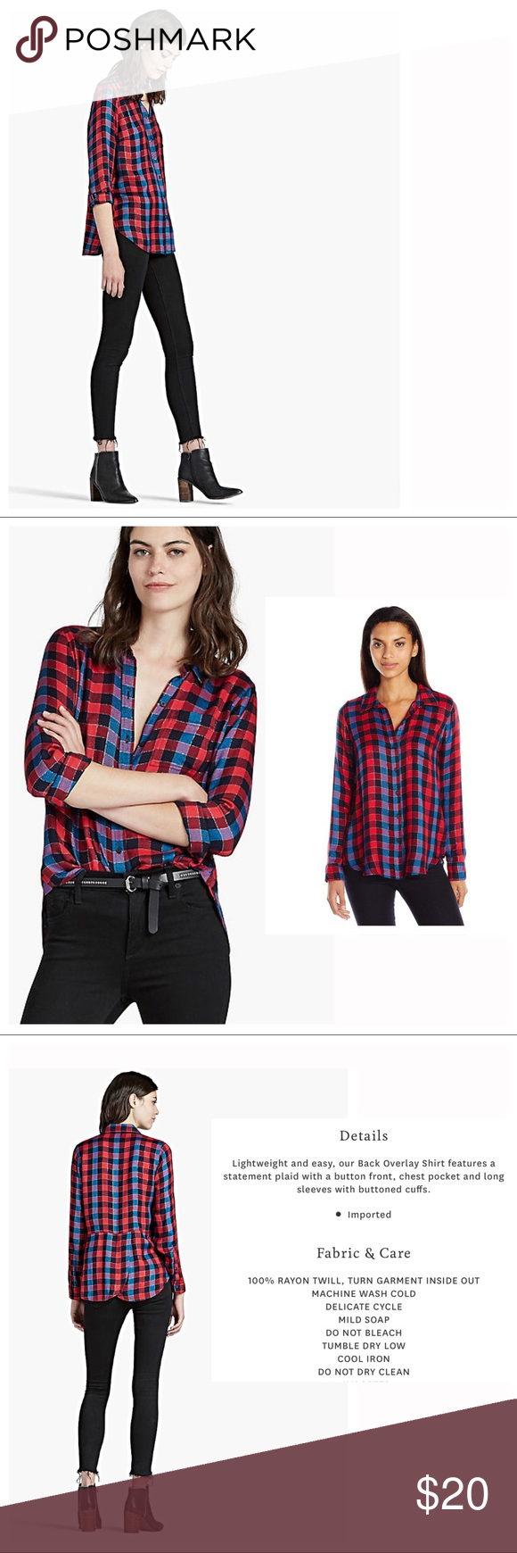 Lucky Brand Red Back Overlay Shirt A fun twist on an old classic! Love the subtle sparkle and the lightweight feel of this shirt. Perfect layering piece. Easily transitions from summer to fall. Worn once tied at waist. Perfect condition, no defects. Offers welcome. Bundle & save✨ Lucky Brand Tops Button Down Shirts