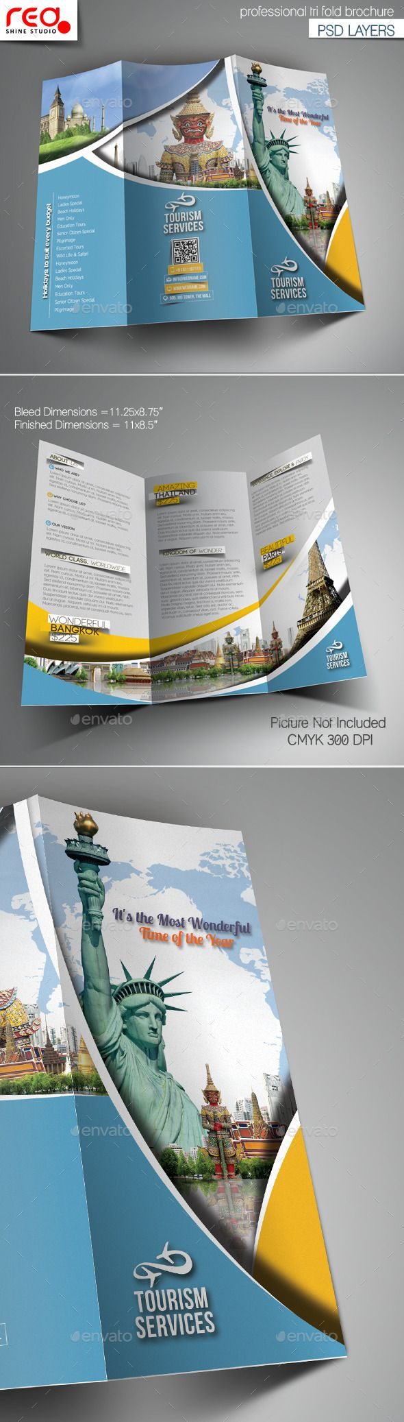 Holiday Travel Trifold Brochure Template  Brochure Template