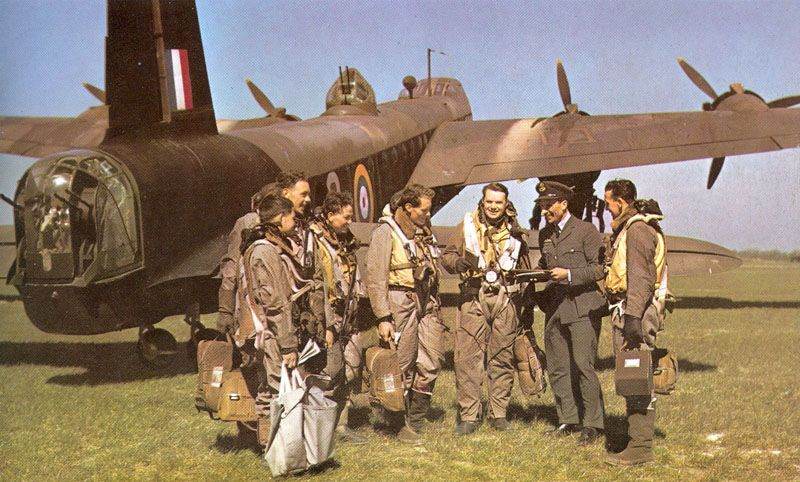 Briefing for the crew of a heavy Stirling bomber - RAF Methwold, Norfolk, England - World War 2
