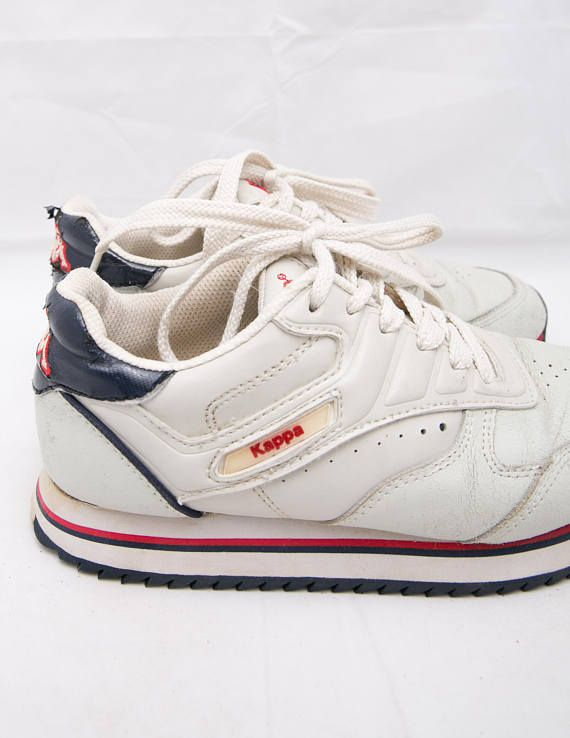 Off White Sneakers, Retro Sport Shoes, Vintage Kappa Shoes, Vintage Lace Up Shoes, Size 36 Sneakers, Size 4,5 Shoes, UK 3,5 Shoes  Vintage off white Kappa sneakers. Lace ups. Blue and red details. ♔♔♔ SIZE Tag size: 4,5 US / 36 European / 3,5 UK.  ♔♔♔ MEASUREMENTS Outer sole 23 cm/ 9,06 in Width 9,5 cm / 3,74 in  ♔♔♔ BRAND: Kappa. Material: man made, leather. Condition: good vintage condition. A few wear marks, but no major damage. ♔♔Please check measurements and our store...