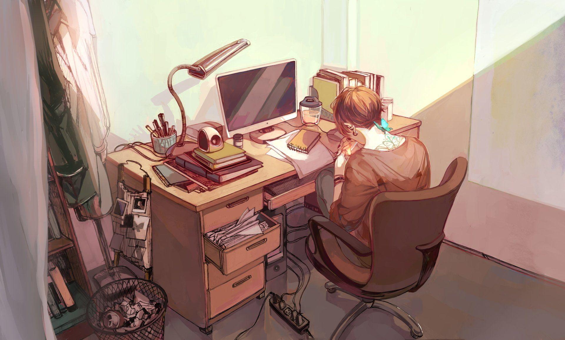 Best Anime Original Bedroom Boy Computer Desk 1080P 400 x 300