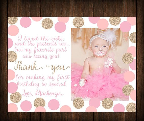 First Birthday Thank You Card Pink Gold by SouthernSkieDesign – First Birthday Thank You Cards