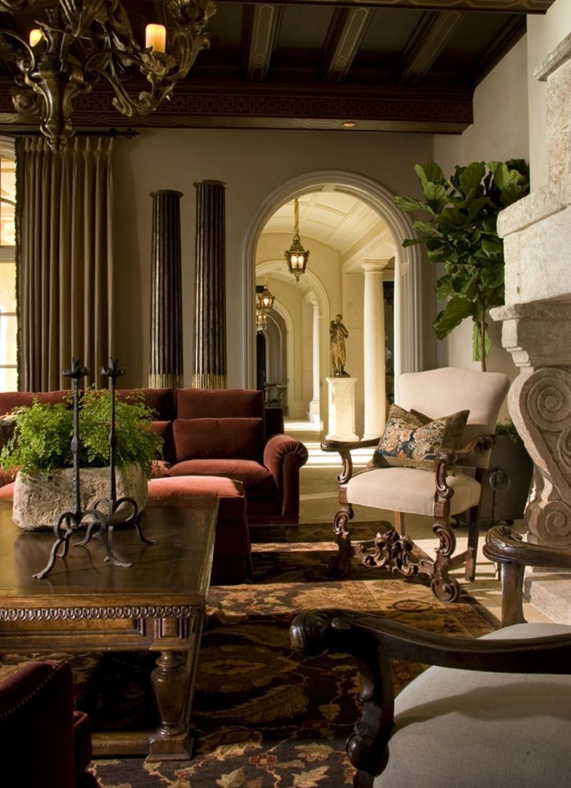 Mediterranean Style Living Room With Beautiful Architectural