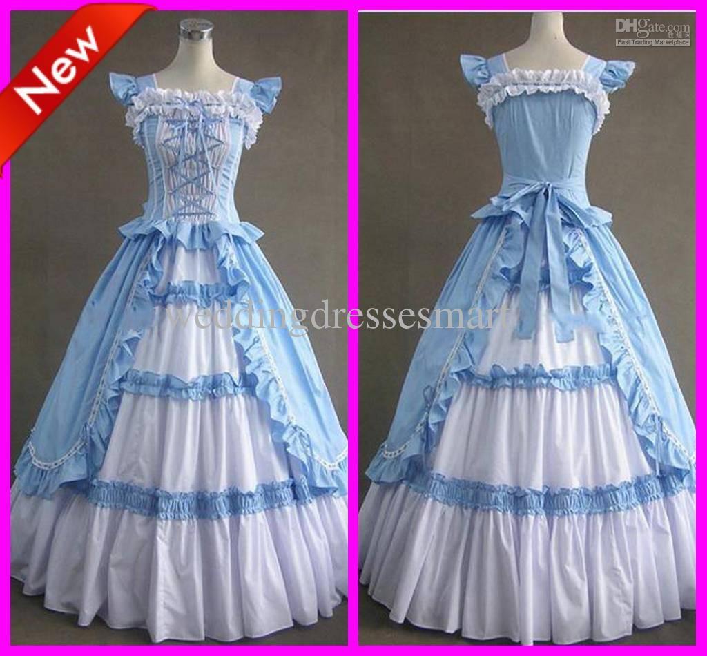 Custom Sky Blue Ruffle Classic A-Line Floor Length Lolita Cosplay ...