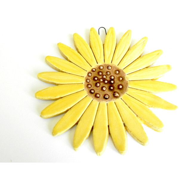 Ceramic Sunflower Wall Decoration Yellow Pottery Ornament Brown Dots ...