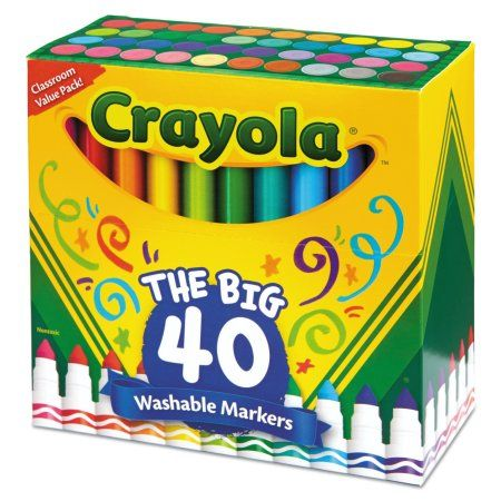 Crayola Classic Broad Line Washable Markers, Child, 40 Pieces