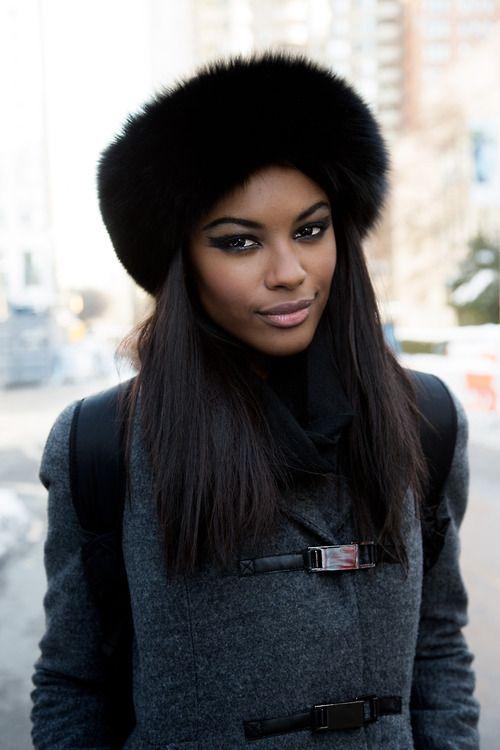 She s gorgeous all dress up for winter with a black fur hat ... 0291dc34db73