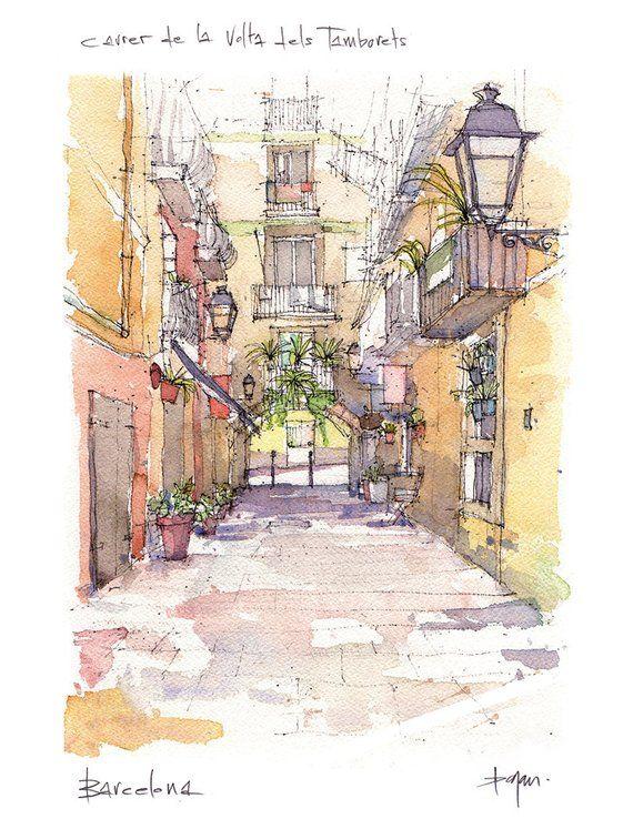 Carrer de la Volta del Tamborets PRINT / El Born, Barcelona / drawing Barcelona