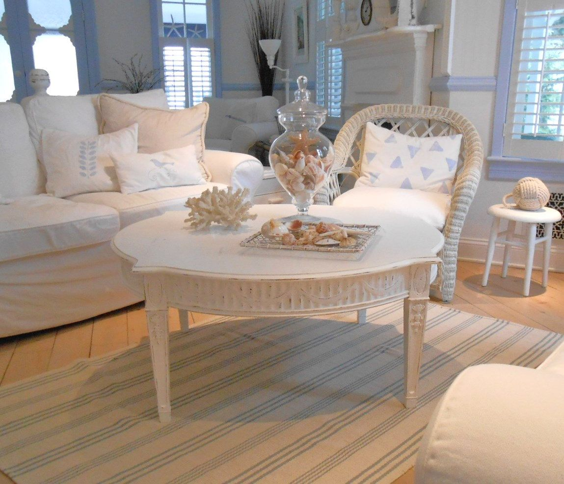 coffee table shabby chic furniture beach cottage 27500 via Etsy