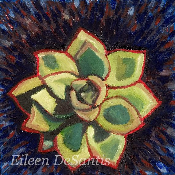 Titled The Succulent  This is a modern still life of an echeveria plant living in my front porch. I used an modern impressionistic approach in