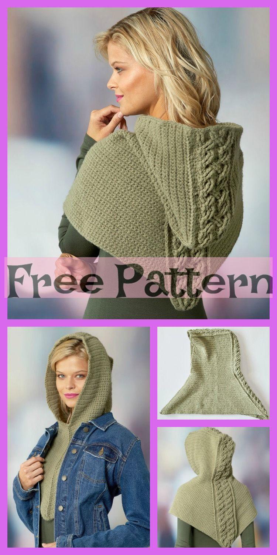 Crochet Hooded Cowl Free Patterns   Kutte mit kapuze