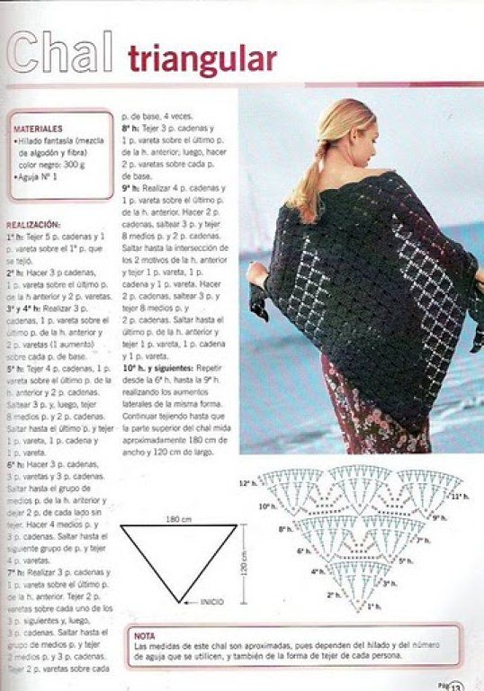 Crochet sólo con paso a paso o video   Chal, Ganchillo y Chal de ...