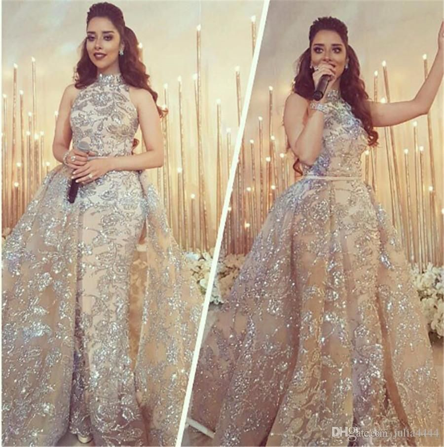 Yousef Aljasmi 2017 Modest High Neck Mermaid Prom Dresses With Overskirt  Sparkly Lace Applique Dubai Arabic Occasion Evening Wear Gowns Cheap  Designer Prom ... 5587b1ddce73