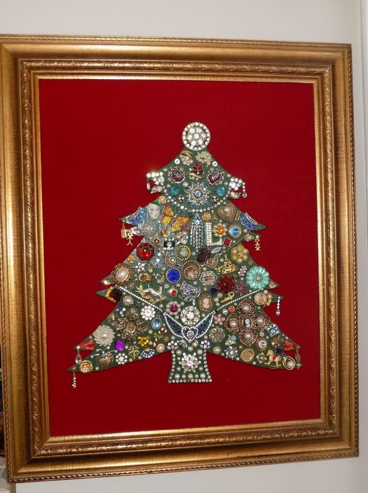 Vintage Jewelry Rhinestone Framed Christmas Tree 24x20\