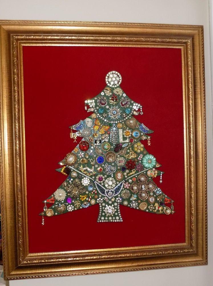 Vintage Jewelry Rhinestone Framed Christmas Tree 24x20\