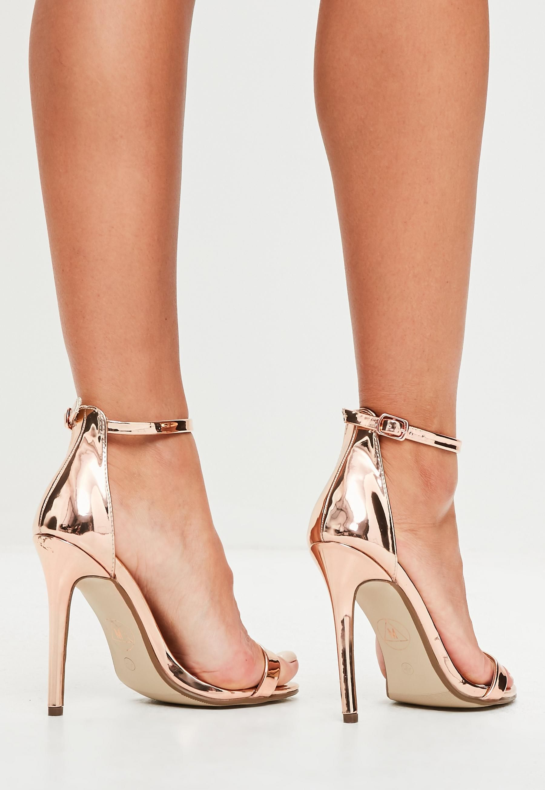 932428b88a55 Rose Gold Two Strap Barely There Heels