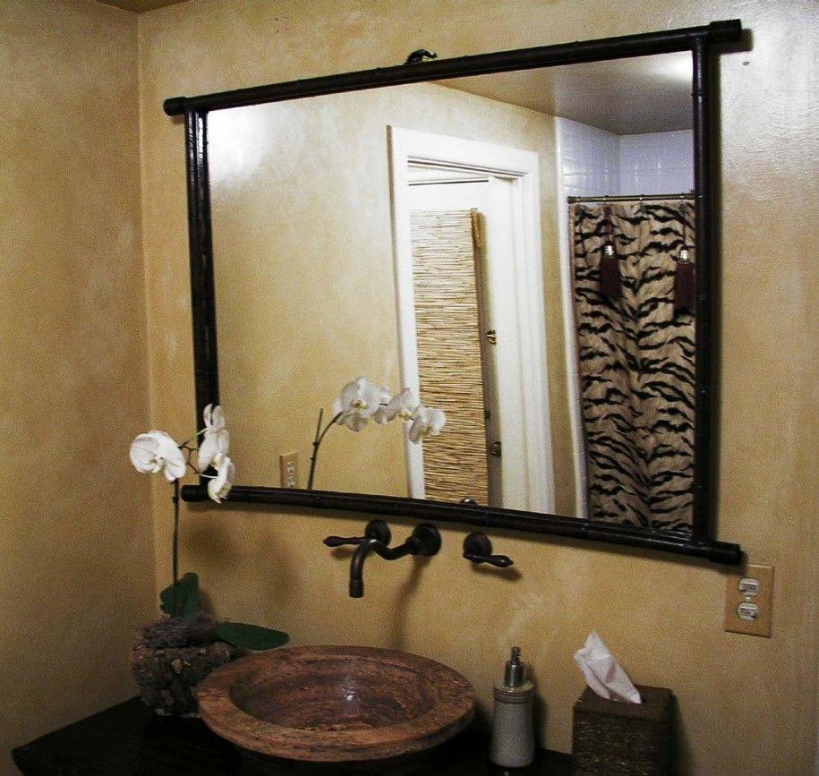 Extraordinary Bathroom Mirror Ideas Extraordinary Bathroom Mirror Ideas With Brown Stone Wall And Mirror And Wa Cermin Kamar Mandi Cermin Dinding Rumah Mewah