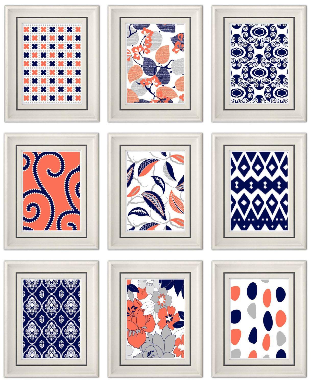 Set of three modern coralnavy wall art any x print set