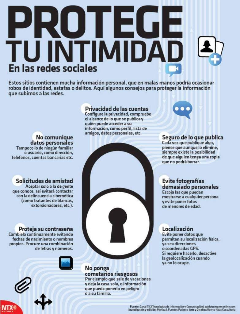 Infografia Protege Tu Intimidad En Las Redes Sociales Tecnologias De La Informacion Y Comunicacion Consejos Para Redes Sociales Redes Sociales