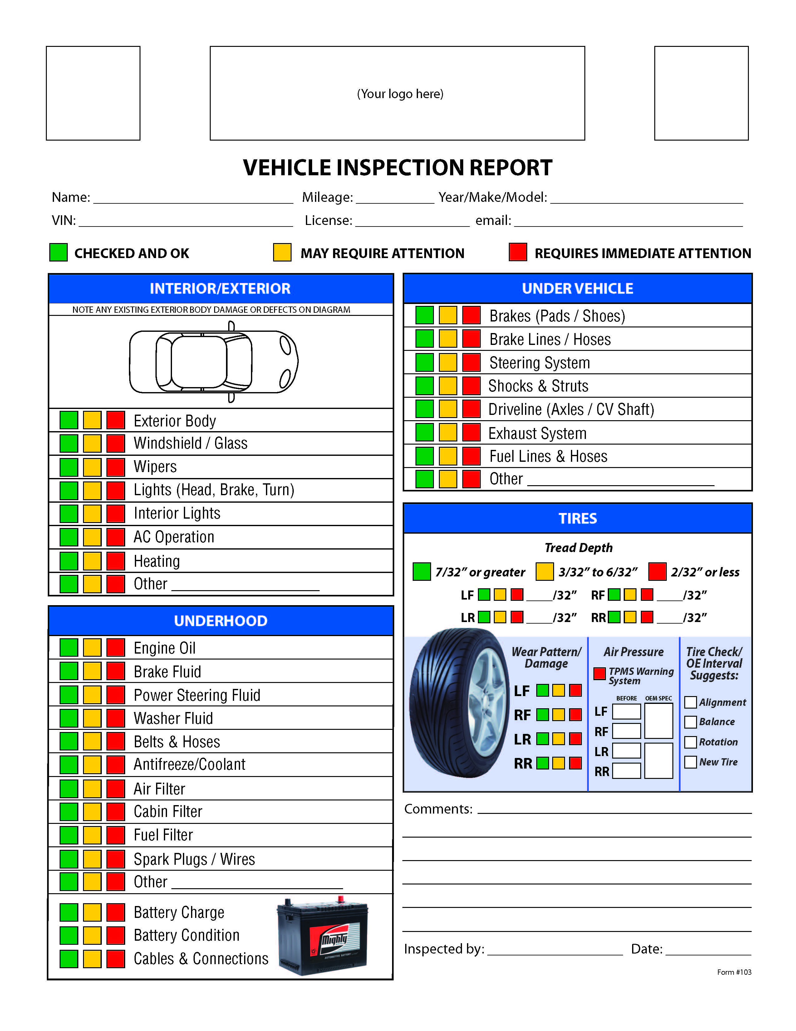 Free Vehicle Inspection Checklist Form
