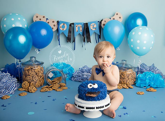 Cake smash cookie monster cake smash cake smash for Baby birthday party decoration