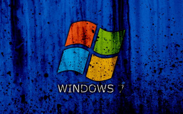 Download Wallpapers Windows 7, 4k, Se7en, Blue Background