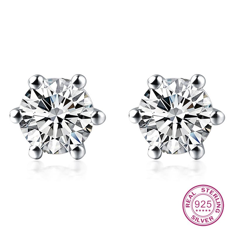 jewelry silver clear earrings wedding women fine stud zircon for tiny products square sterling delicate in