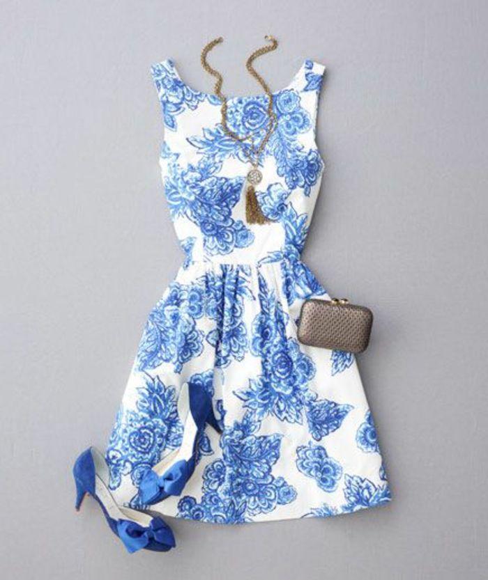 Robe blanche et bleu femme